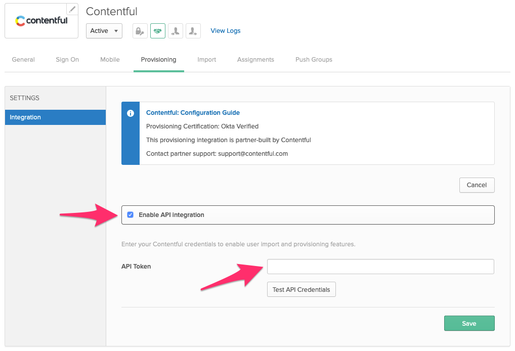 Okta, enable integration and add credentials