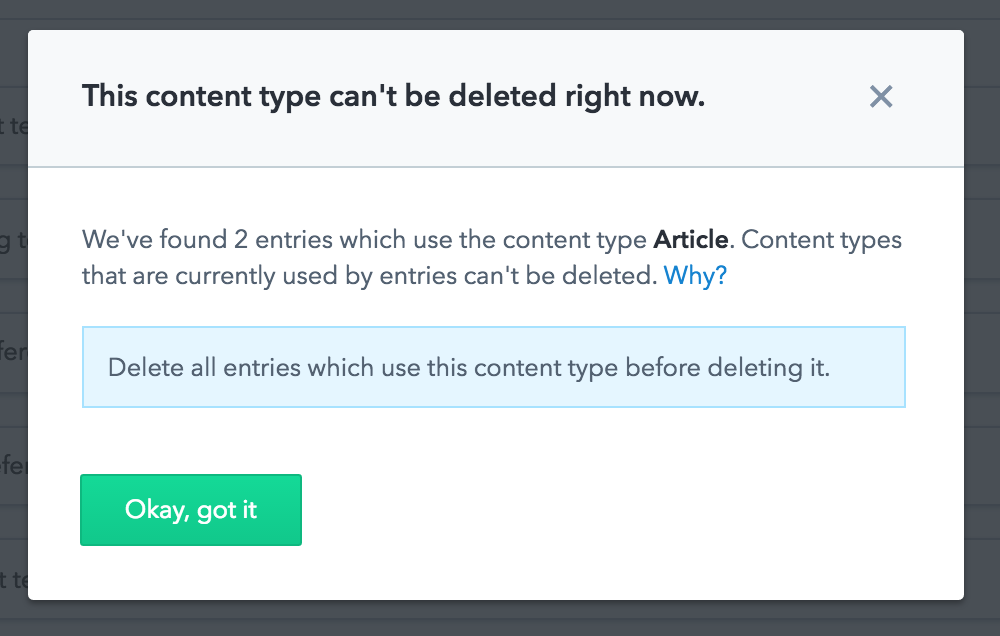 delete content type warning