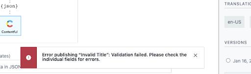 Validations: Validation failed warning notification