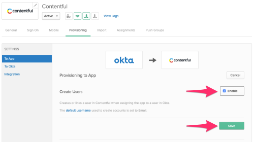 Okta - Enable create user