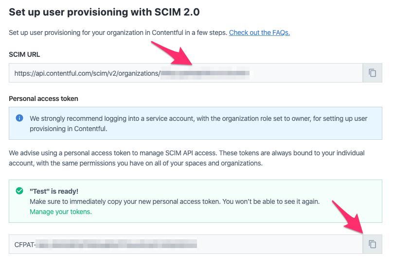 SCIM configuration details