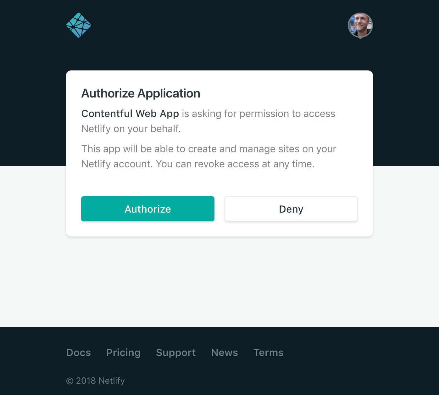 Apps Netlify Authorize