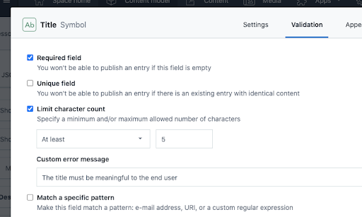 Validations: Short text validation options