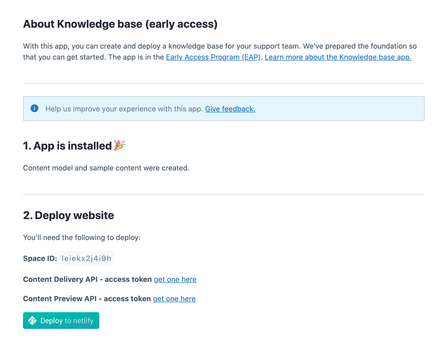 Apps Knowledge Base Config
