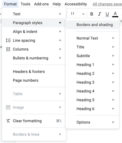 Working with Google Docs - Settings