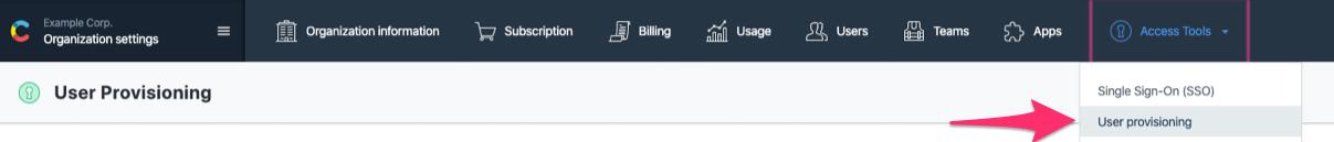 User provisioning menu item
