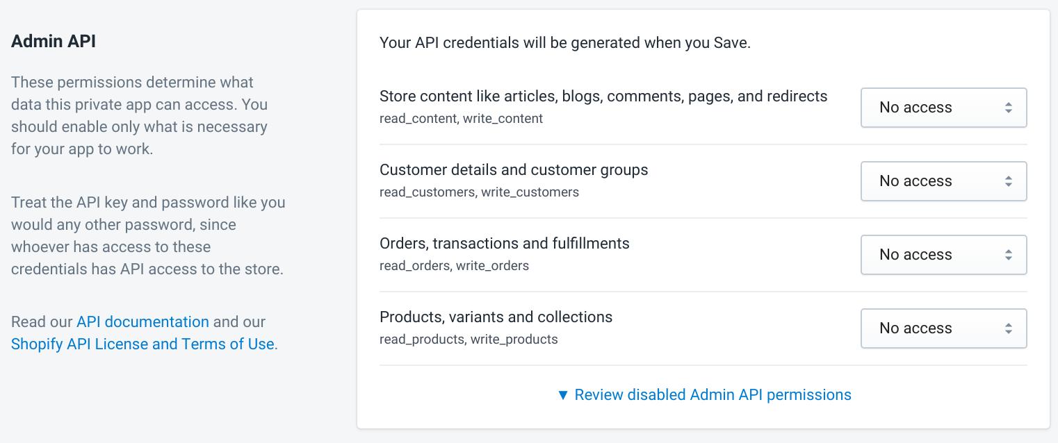 Apps Shopify API Permissions