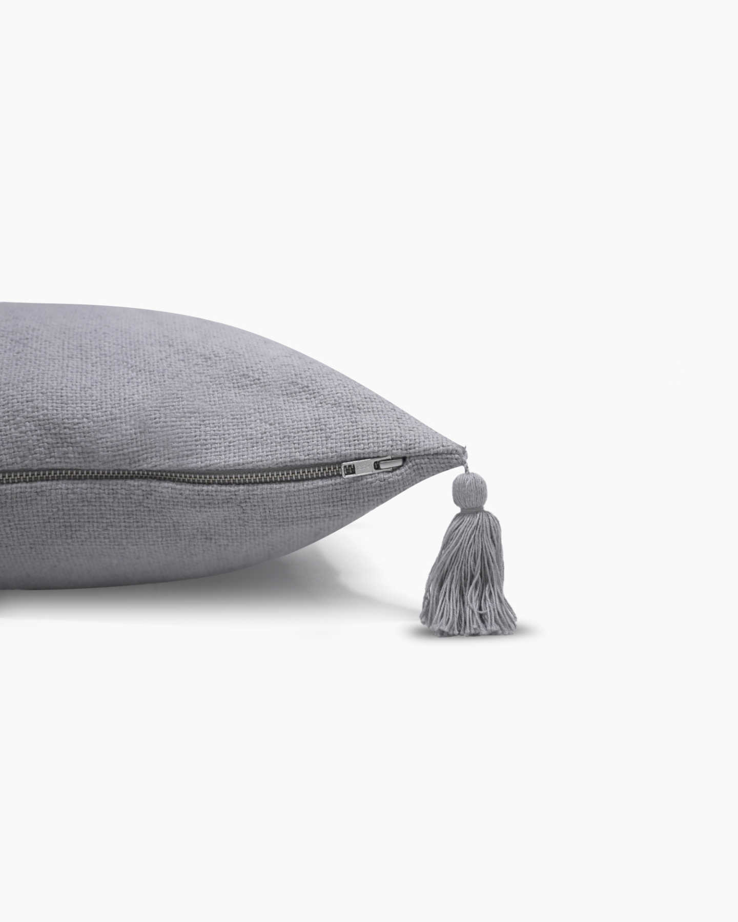 Linen Tassel Pillow Cover - Grey - 3