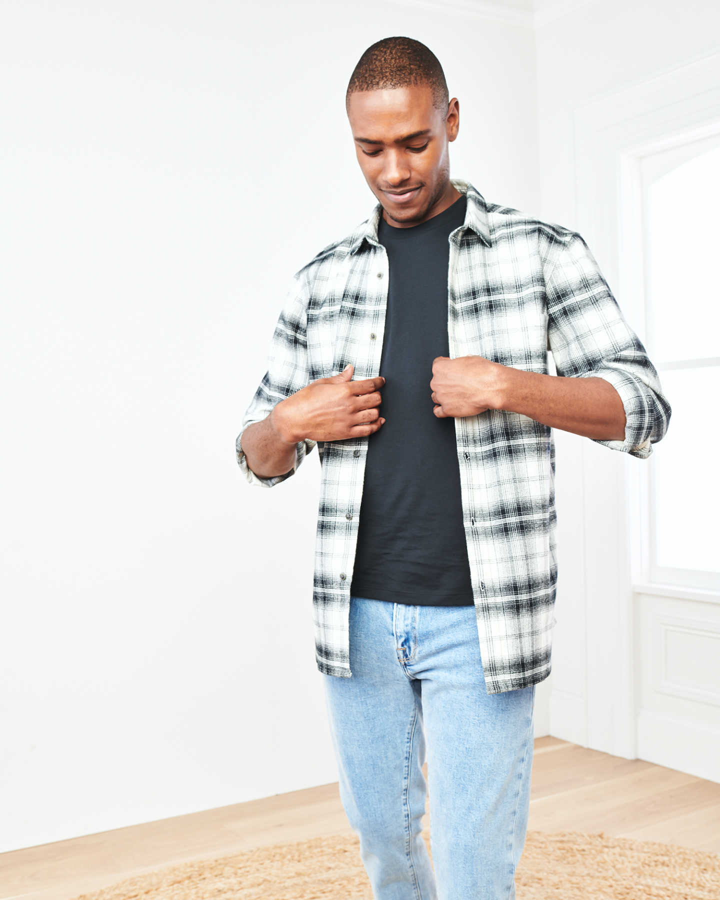Heavy Plaid Flannel Overshirt - Black/White - 5