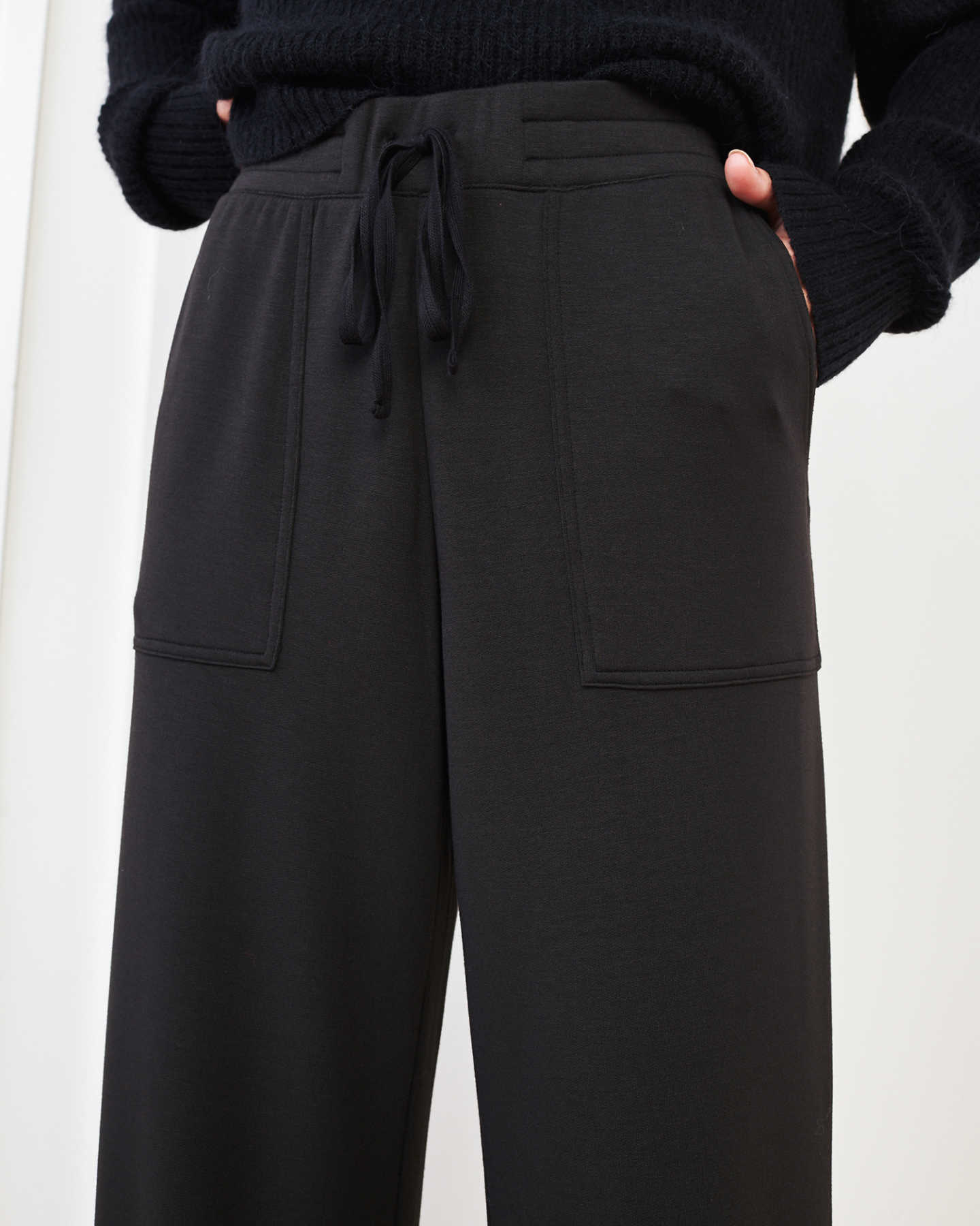 SuperSoft Fleece Wide Leg Pants - Black - 1