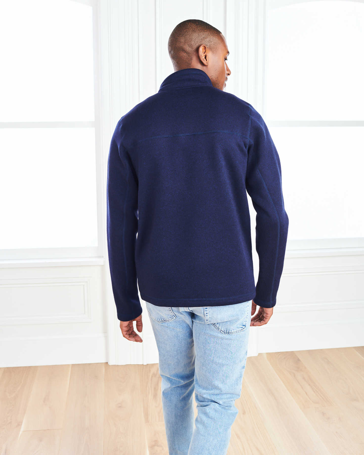 Recycled Sweater Fleece Pullover Jacket - Navy - 4