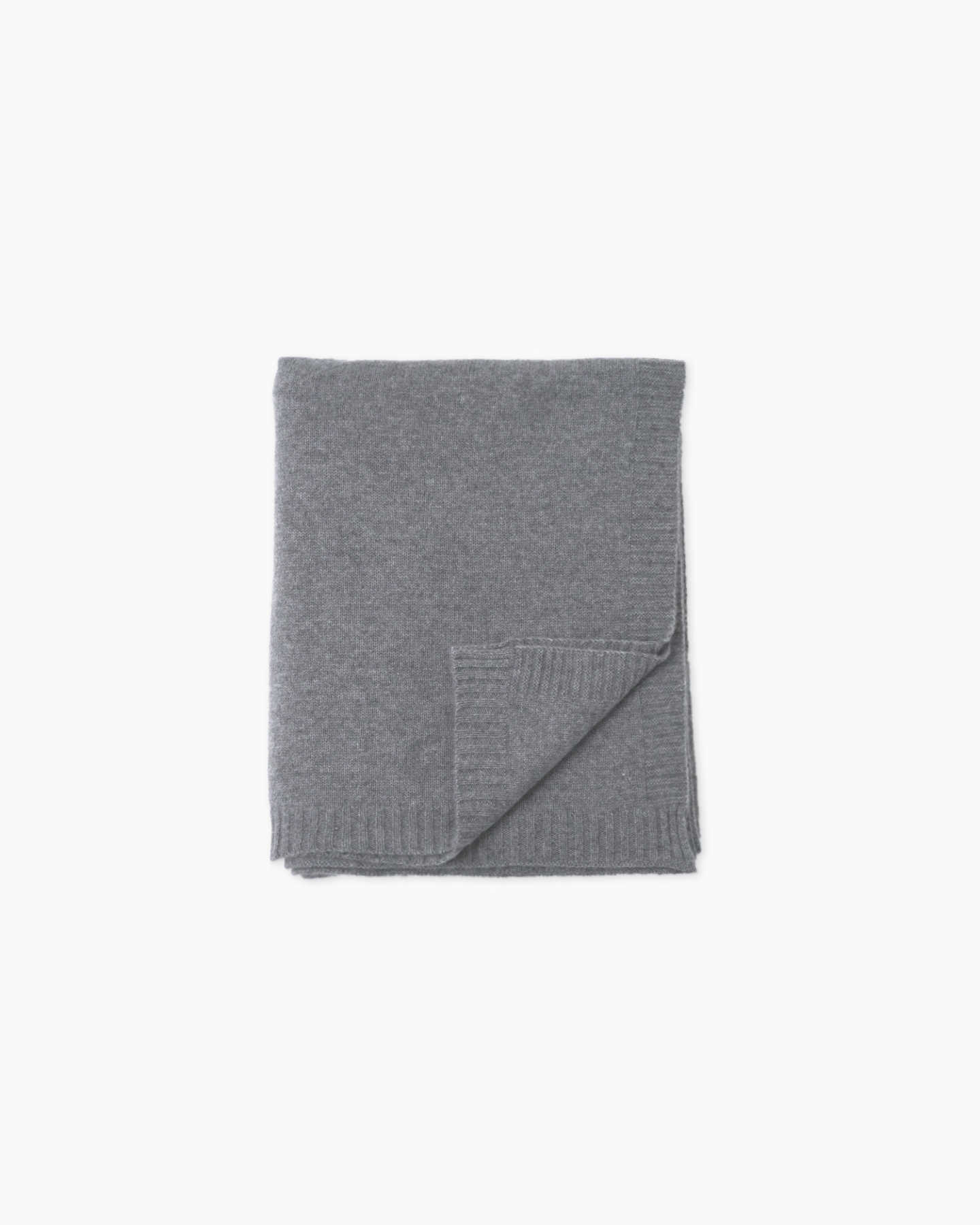 Luxe Knit Cashmere Throw - Heather Grey