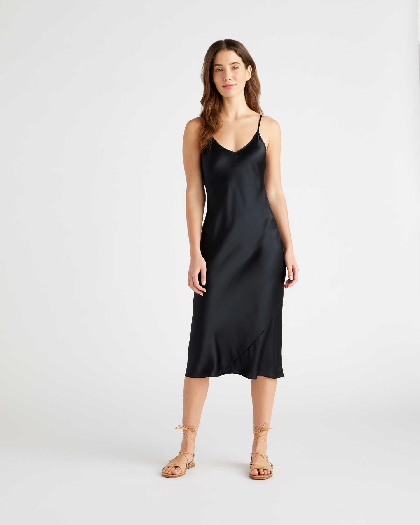 100% Washable Silk Slip Dress - Black