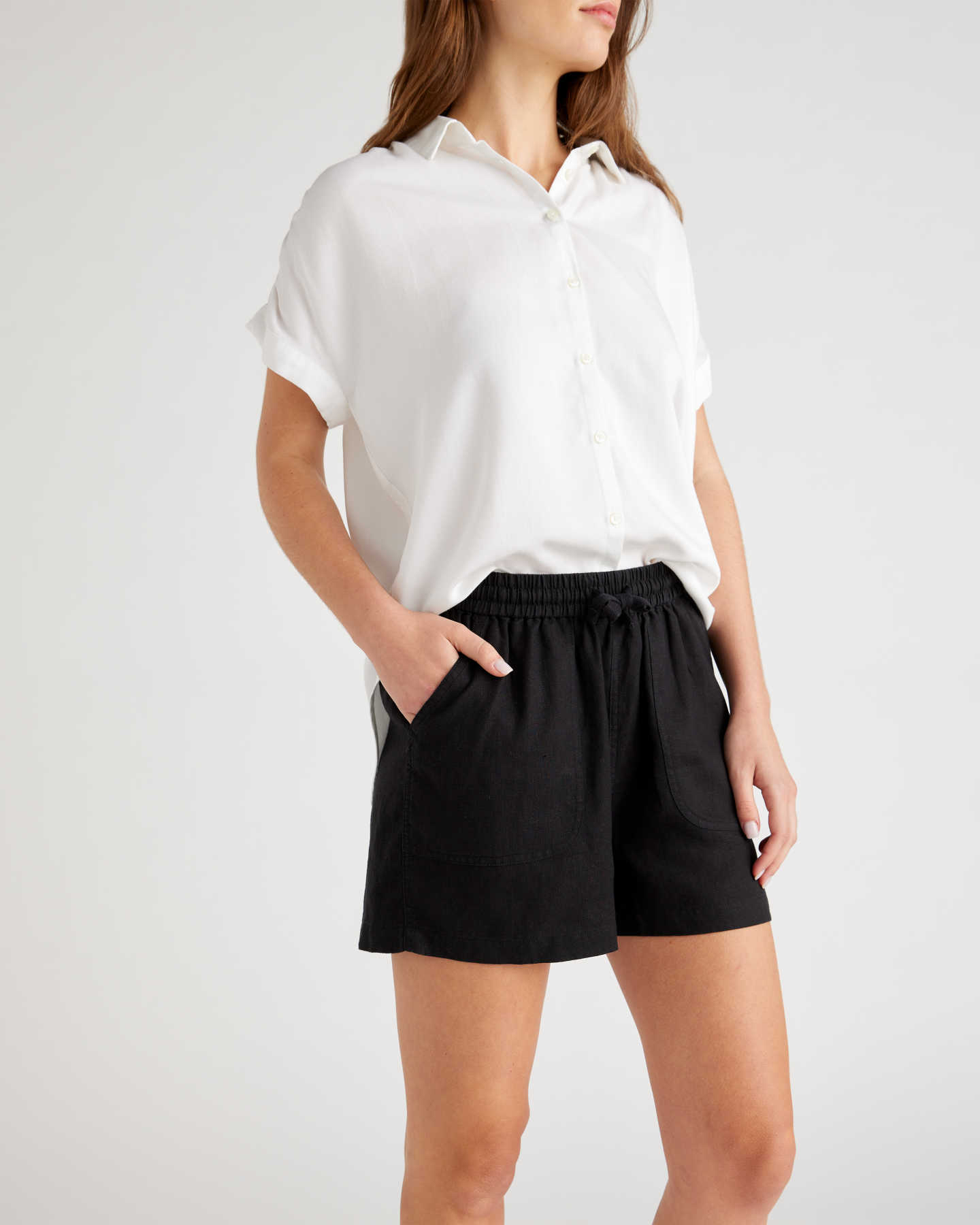 Pair With - 100% Organic Linen Shorts - Black