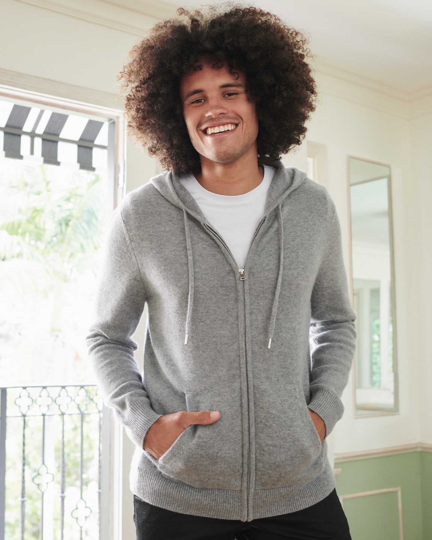 mens cashmere zip hoodie in grey