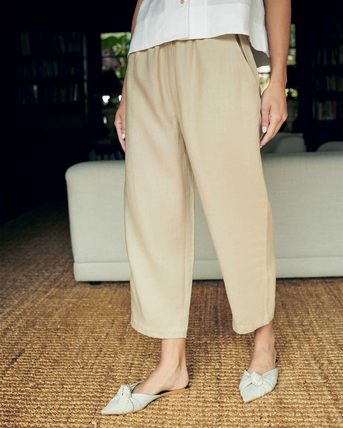 linen pants for women in sand linen tank white 1