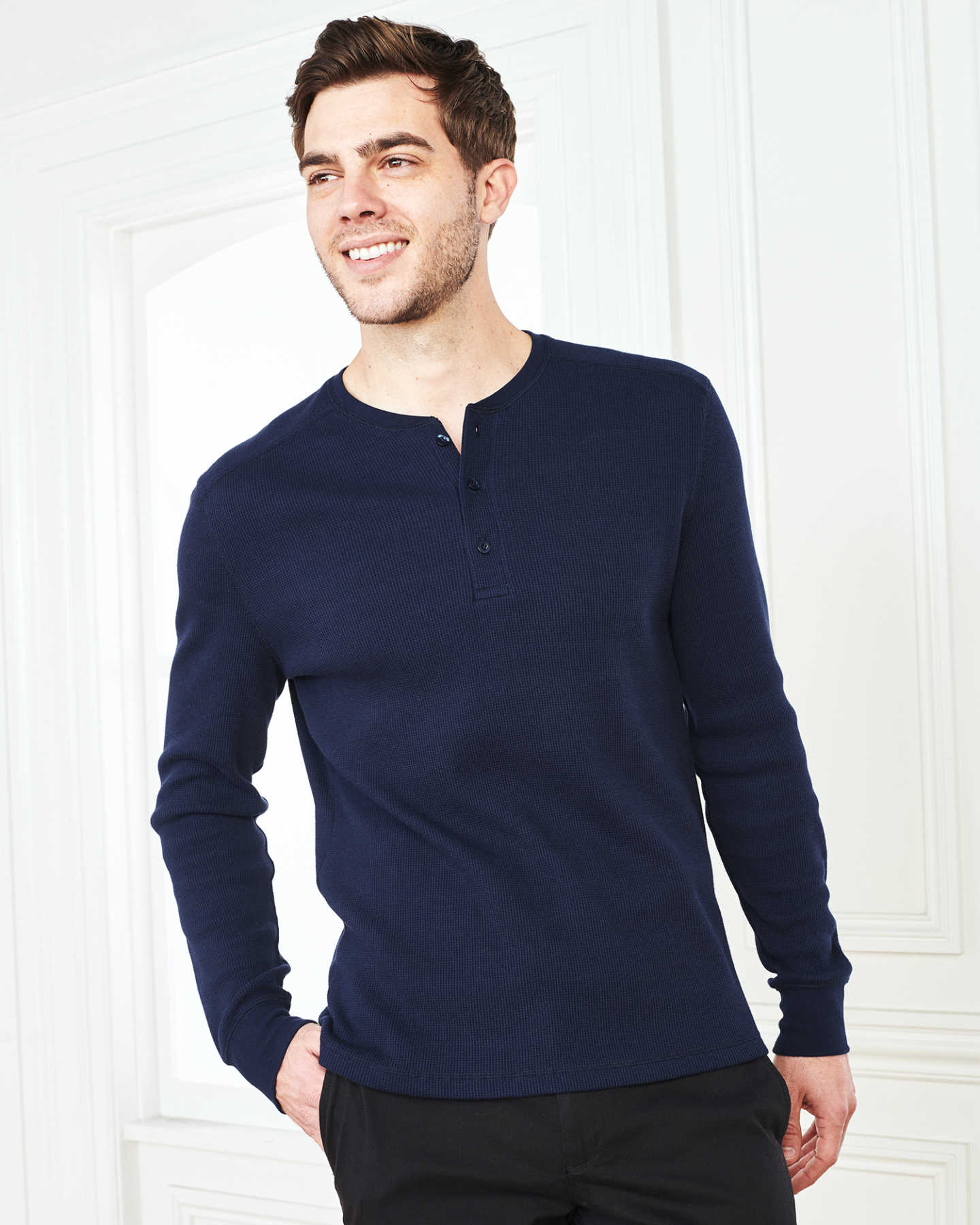 Luxe Organic Waffle Thermal Henley - Navy - 3