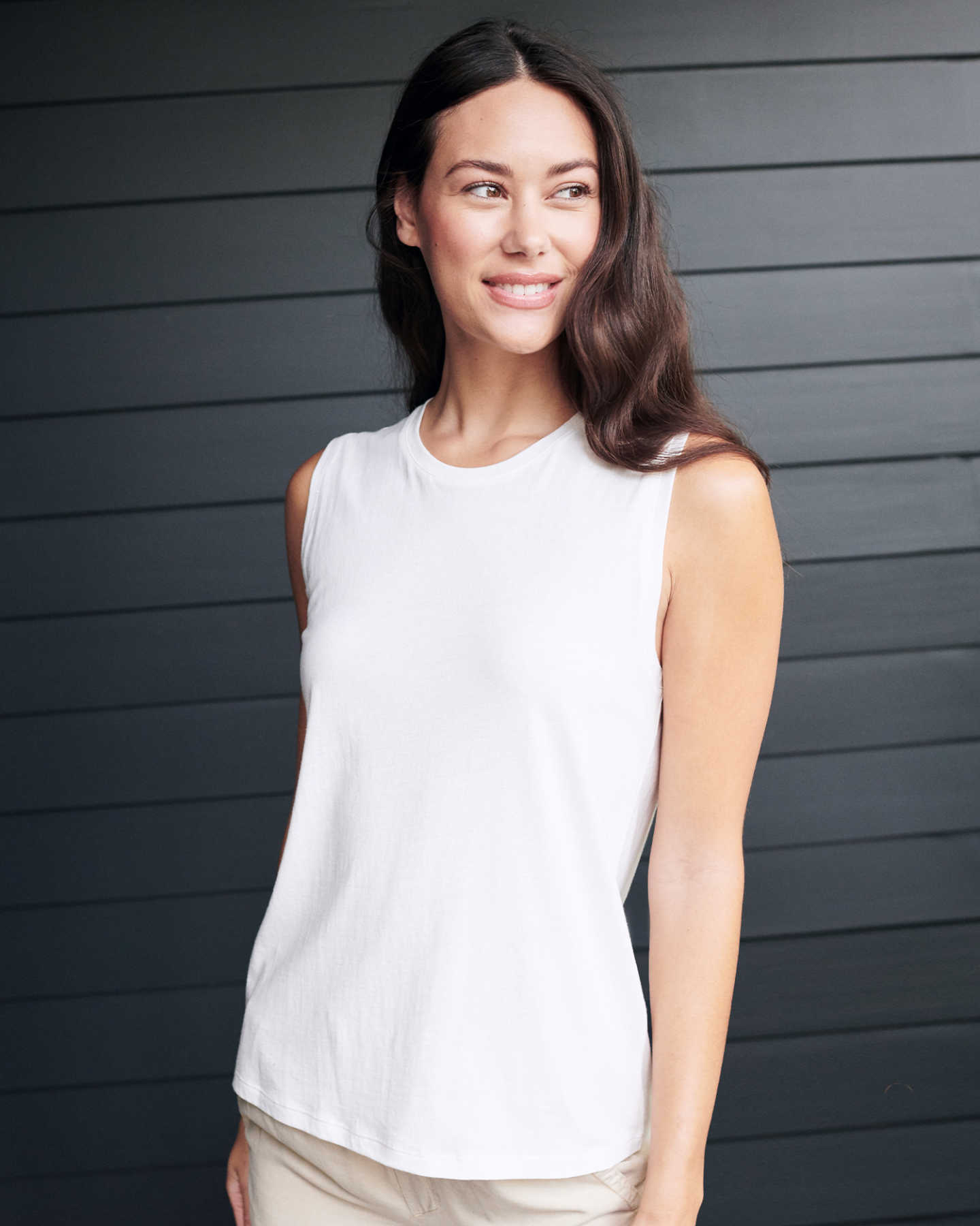 Cotton Modal Muscle Tank - White - 2