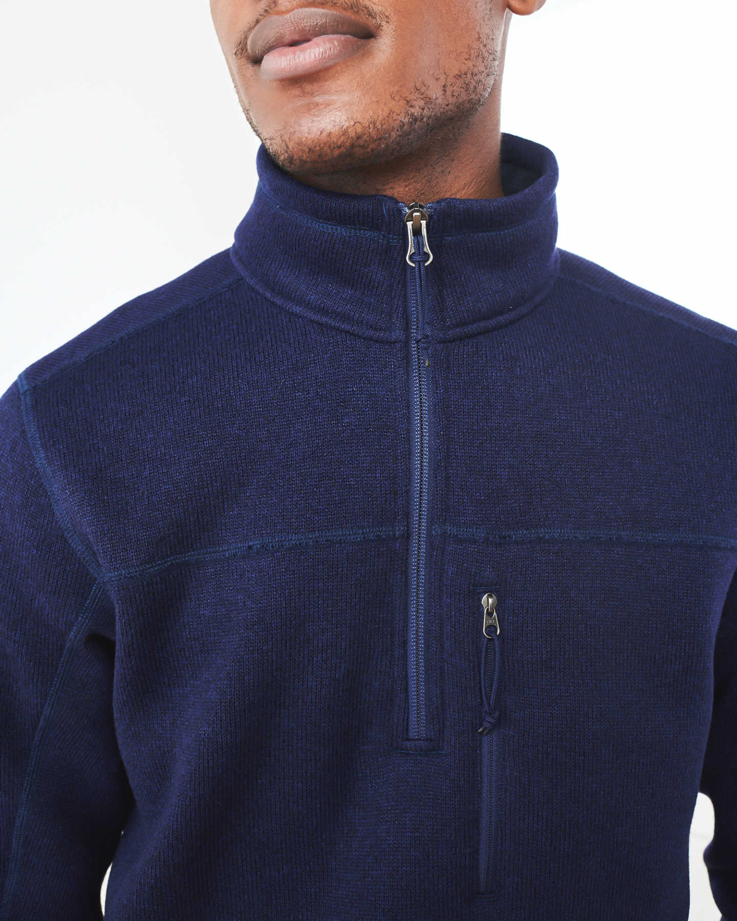 Recycled Sweater Fleece Pullover Jacket - Navy - 5
