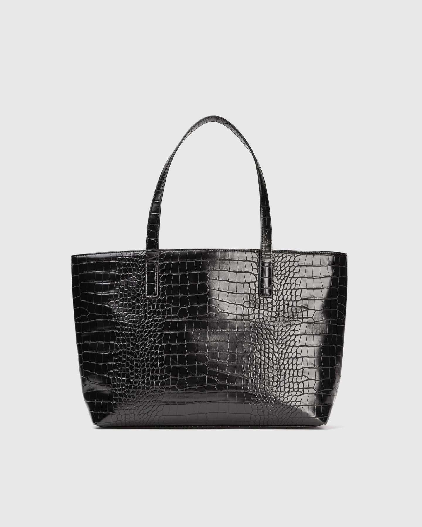 Pair With - Vegan Leather Tote - Black Croco