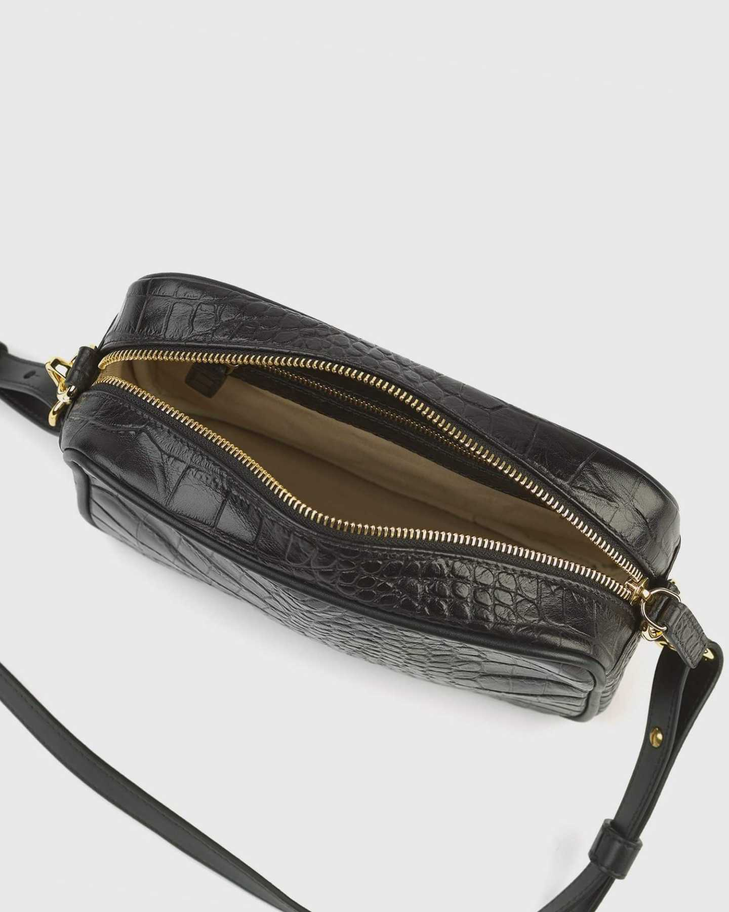 Leather crossbody bag with croco emboss design from top