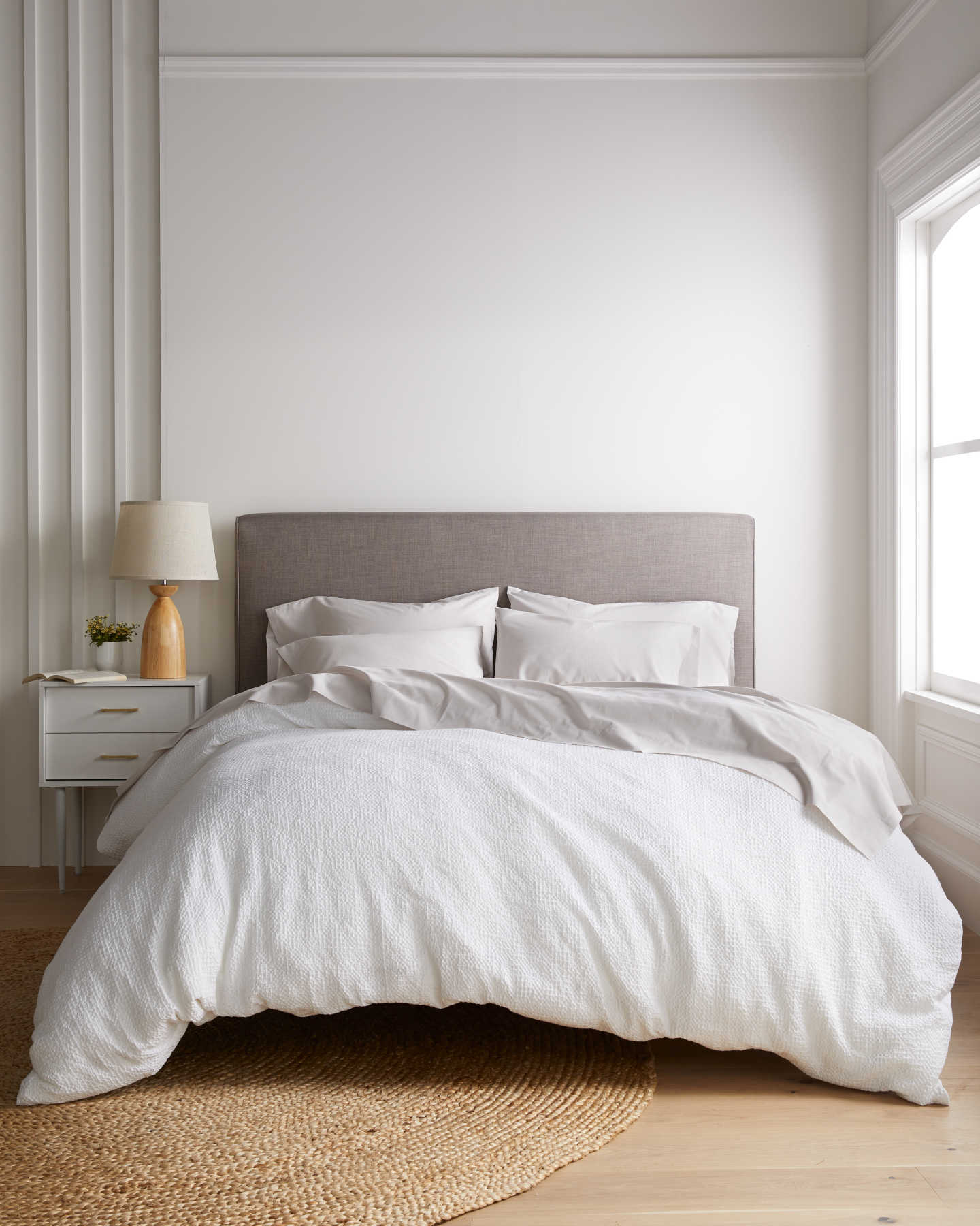 waffle duvet cover on bed from front