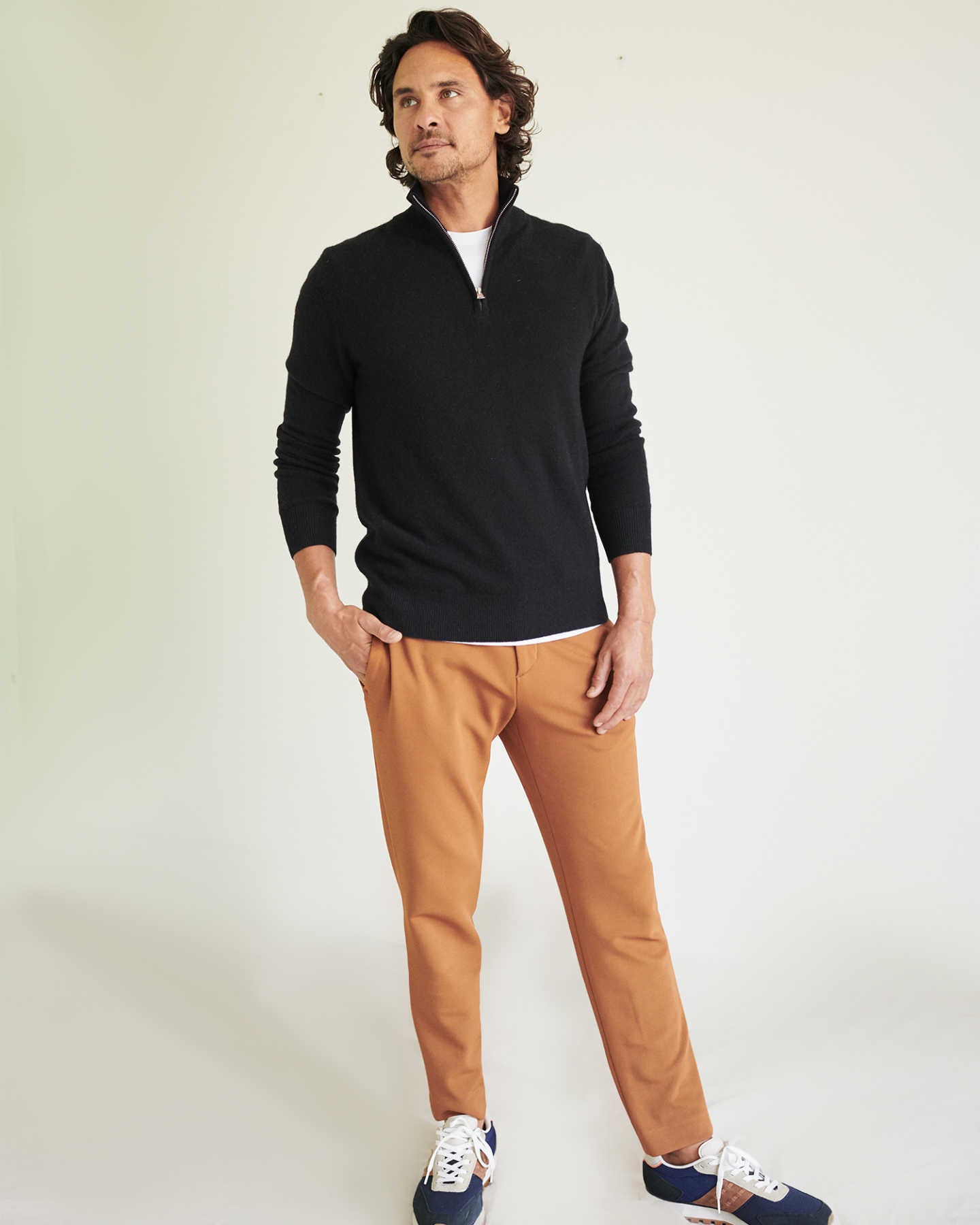 Pair With - Mongolian Cashmere Quarter Zip Sweater - Camel