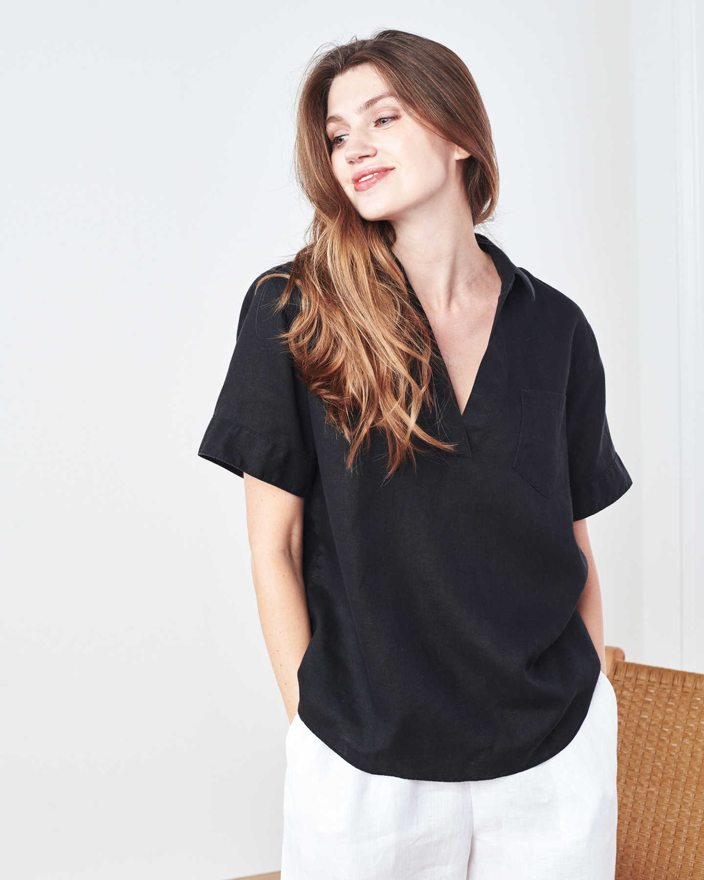 Short Sleeve French Linen Popover (w/ WrinkleGuard™) - Black
