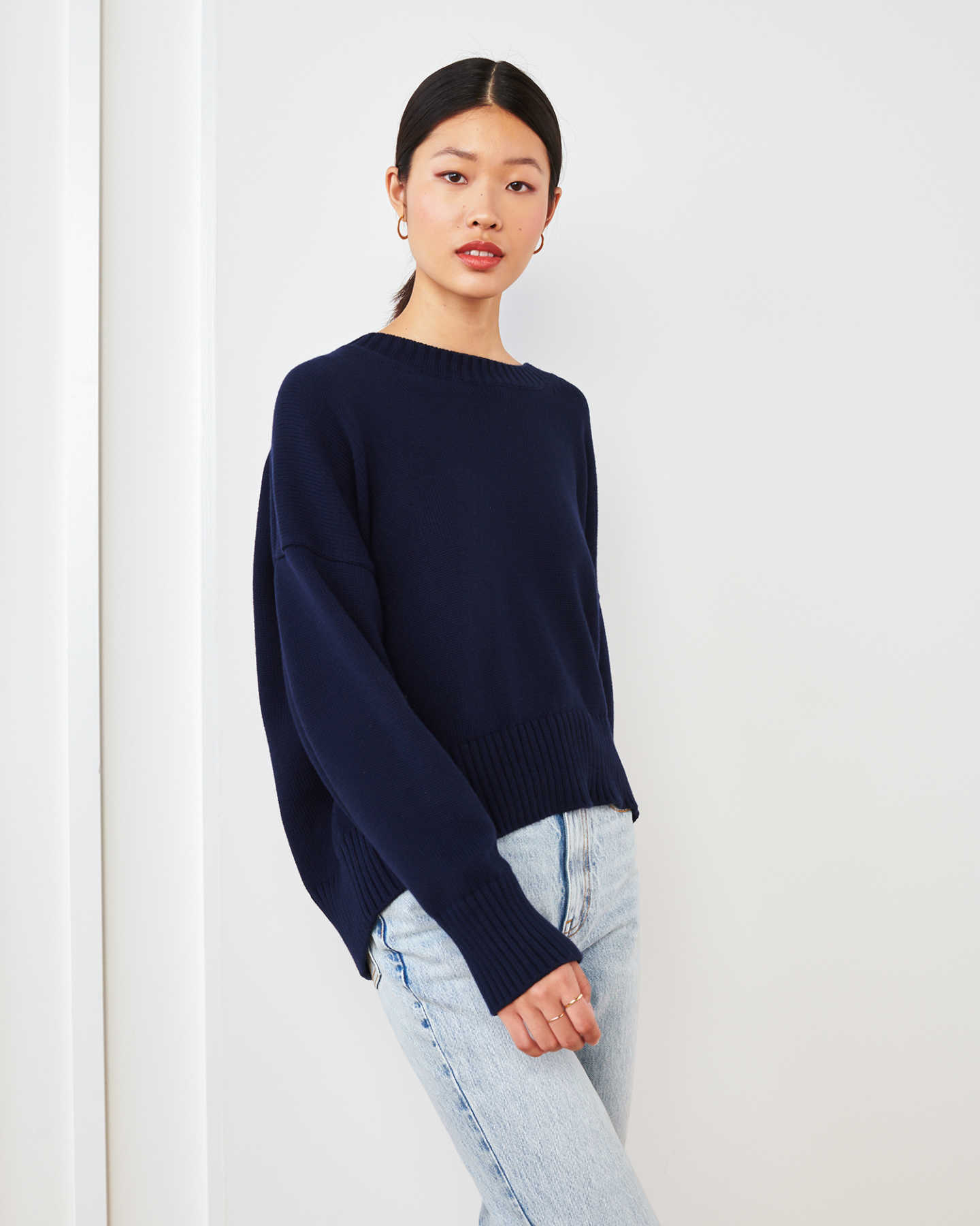 100% Organic Cotton Boyfriend Crew - Navy - 1 - Thumbnail