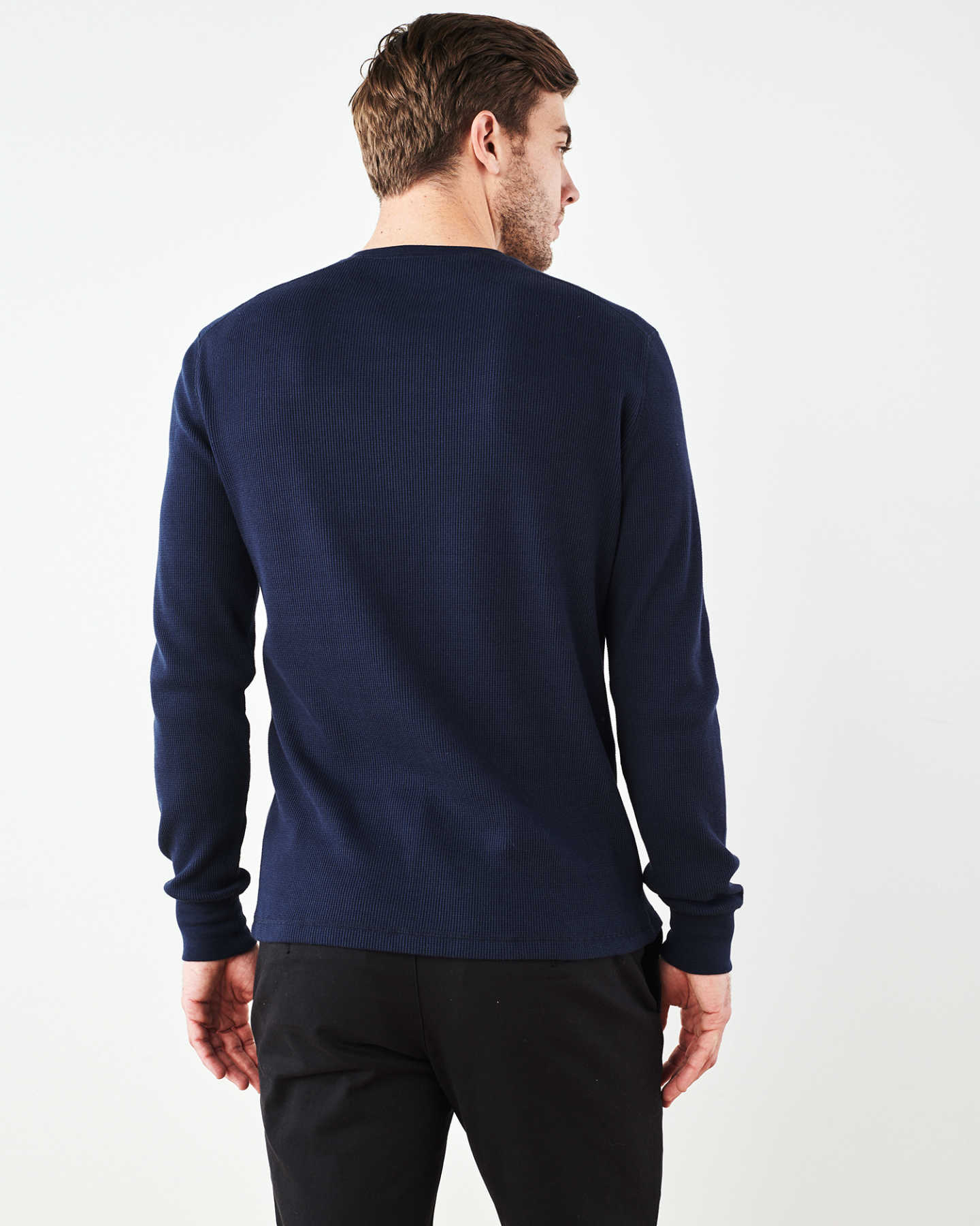 Luxe Organic Waffle Thermal Henley - Navy - 4