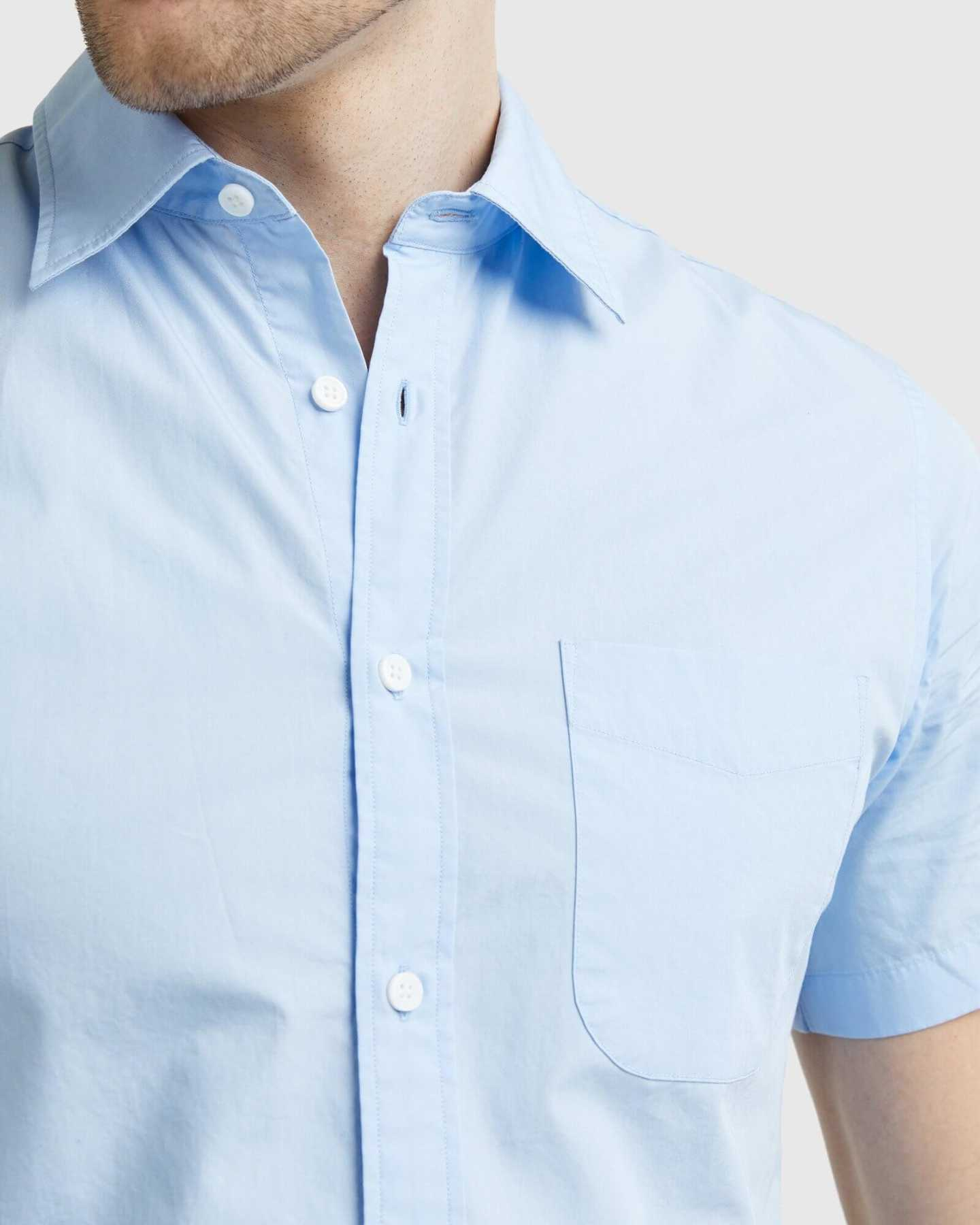 Organic Short Sleeve Stretch Poplin Shirt - Light Blue - 6