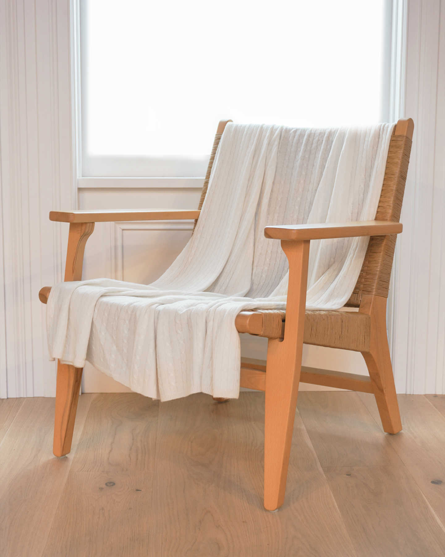 Cable Knit Cashmere Throw - Ivory - 3