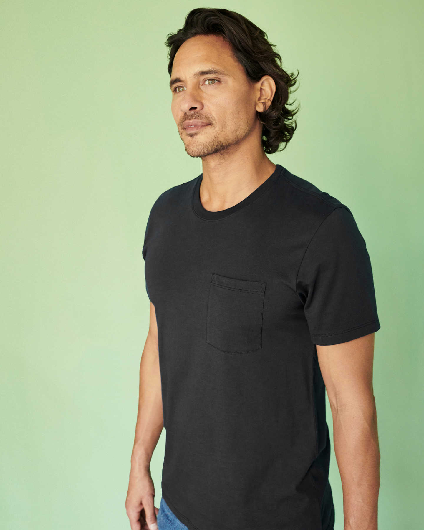 Luxe Organic Pima Pocket Tee - Black - 1
