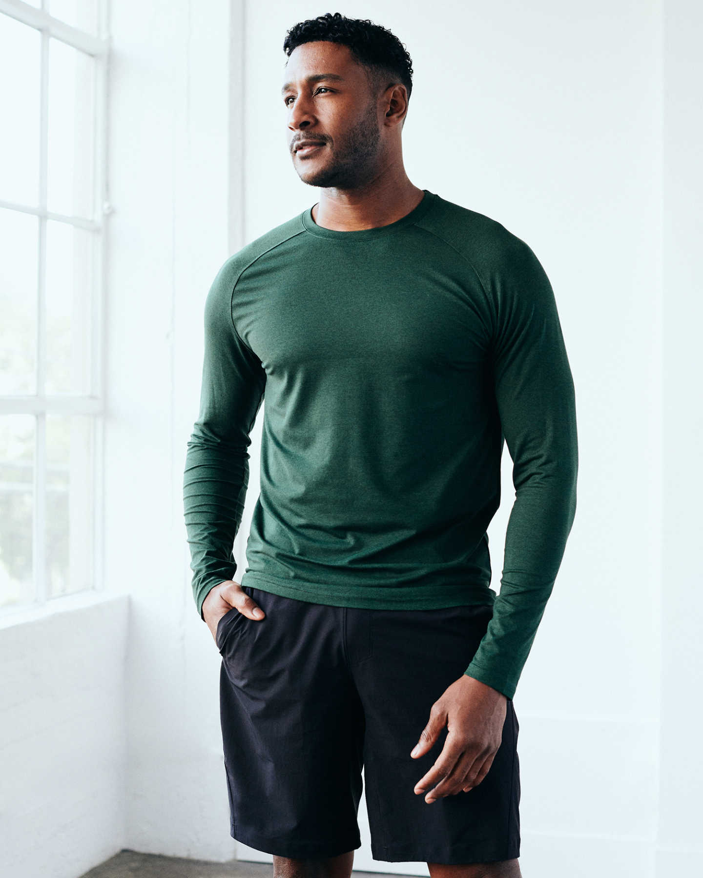 Flowknit Ultra-Soft Performance Long Sleeve Tee - Olive - 10