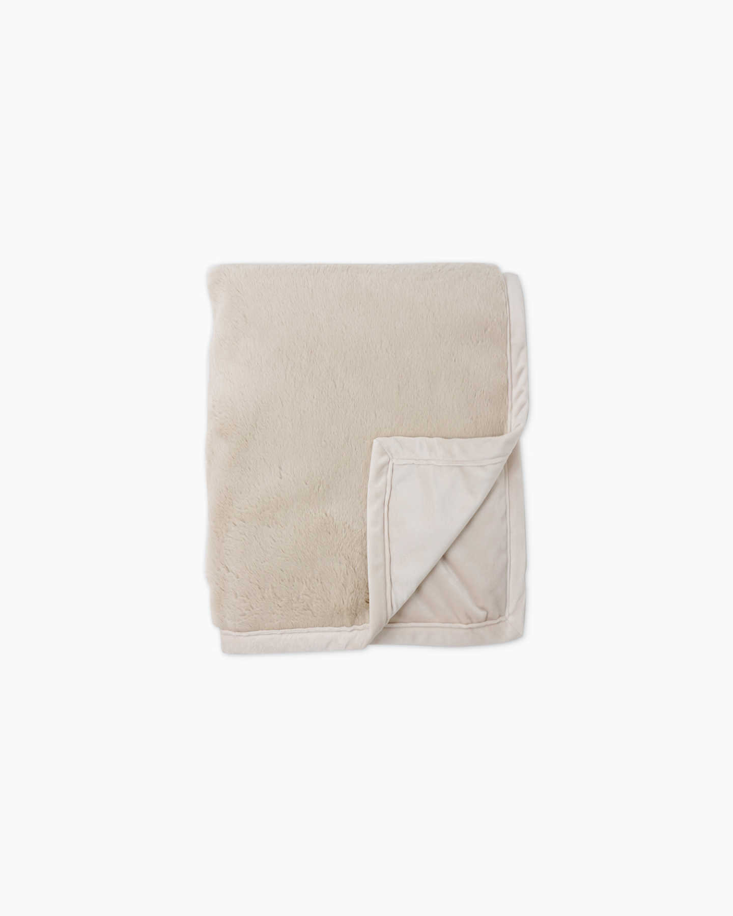 Plush Recycled Faux Fur Throw - Light Camel