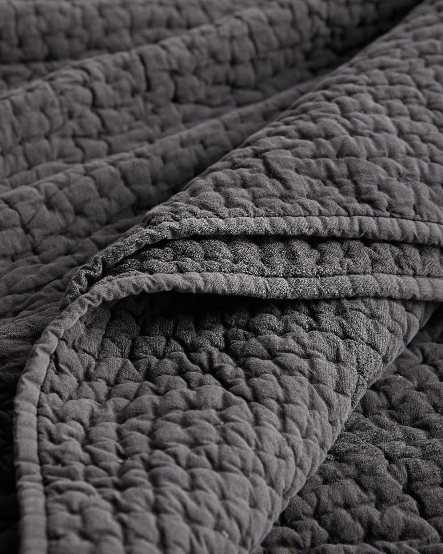 Stonewashed Handcrafted Cotton Quilt Set - Charcoal - 4 - Thumbnail