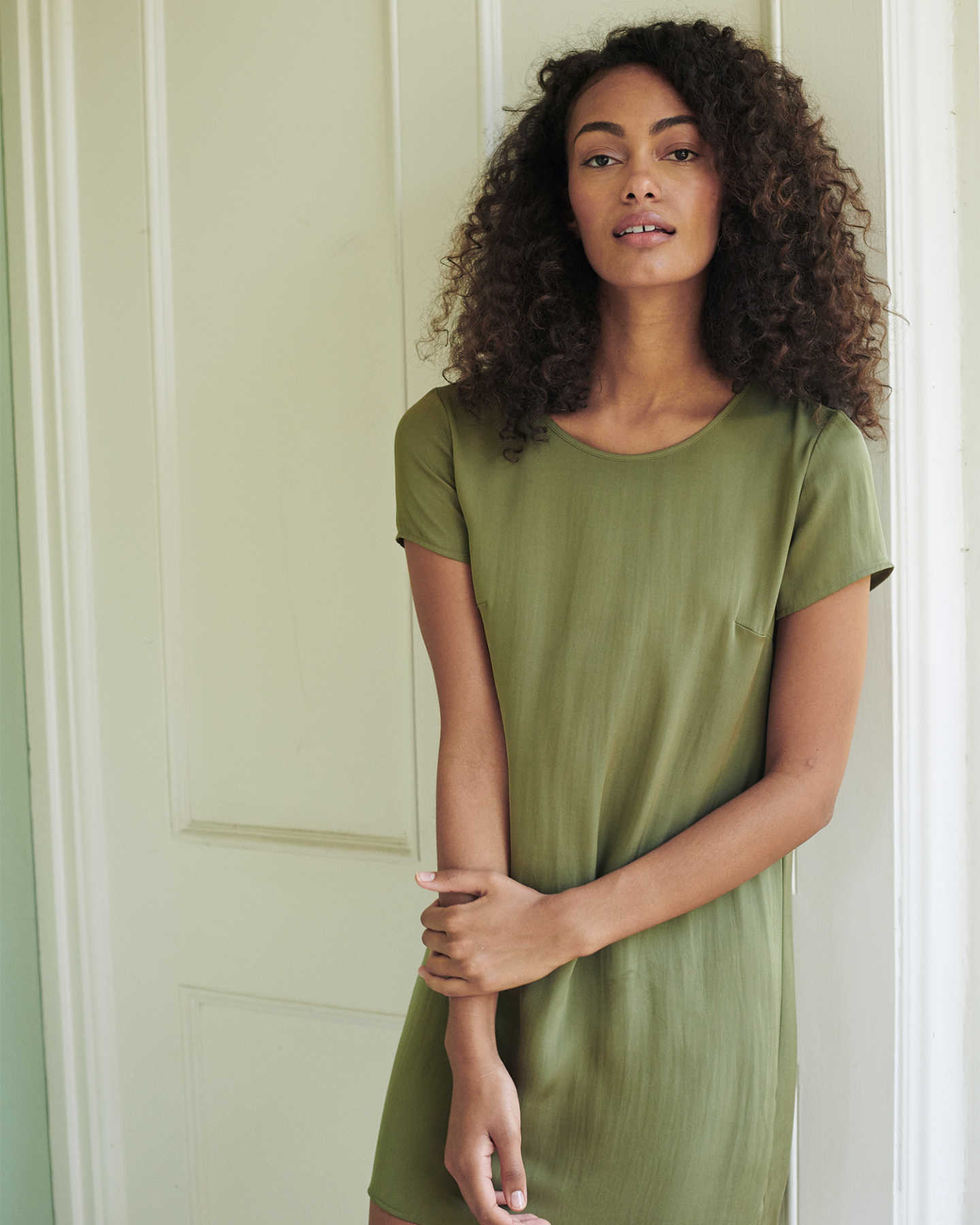 Washable Stretch Silk Tee Dress - undefined - 1