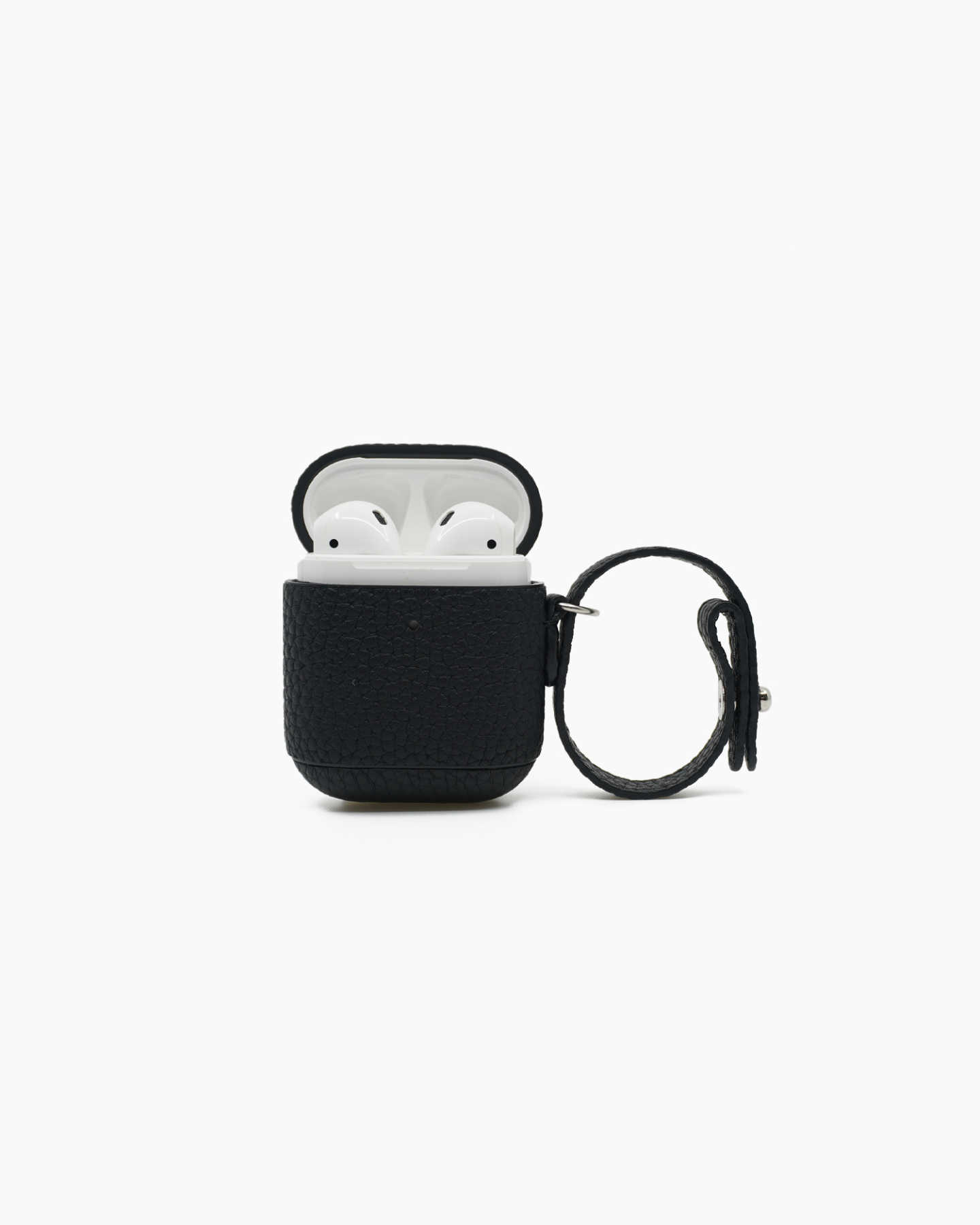 Premium Pebbled Leather AirPod Case - Black - 1