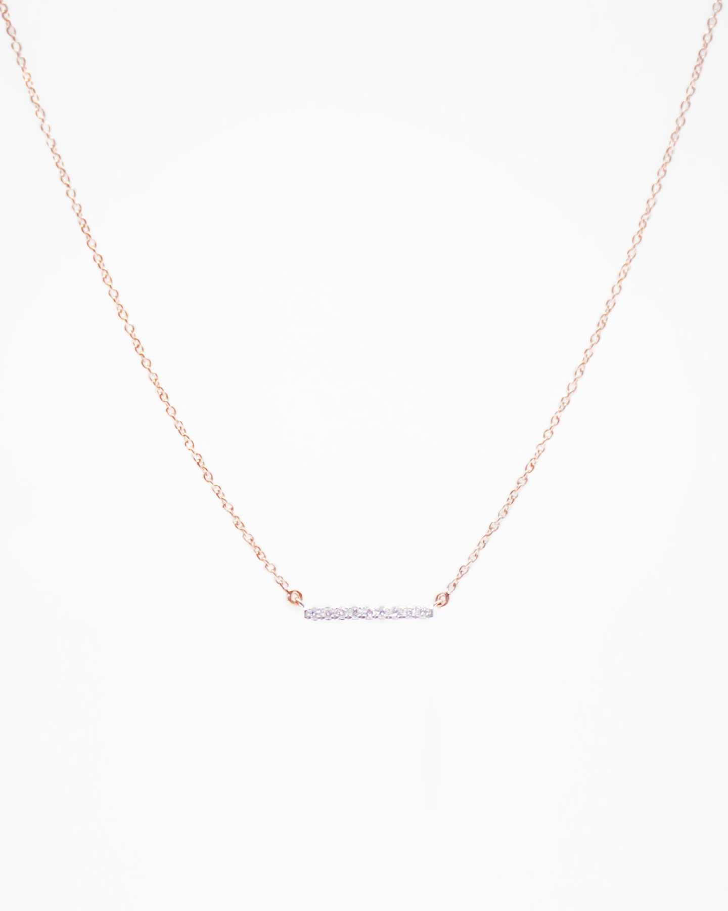 diamond bar necklace in rose gold