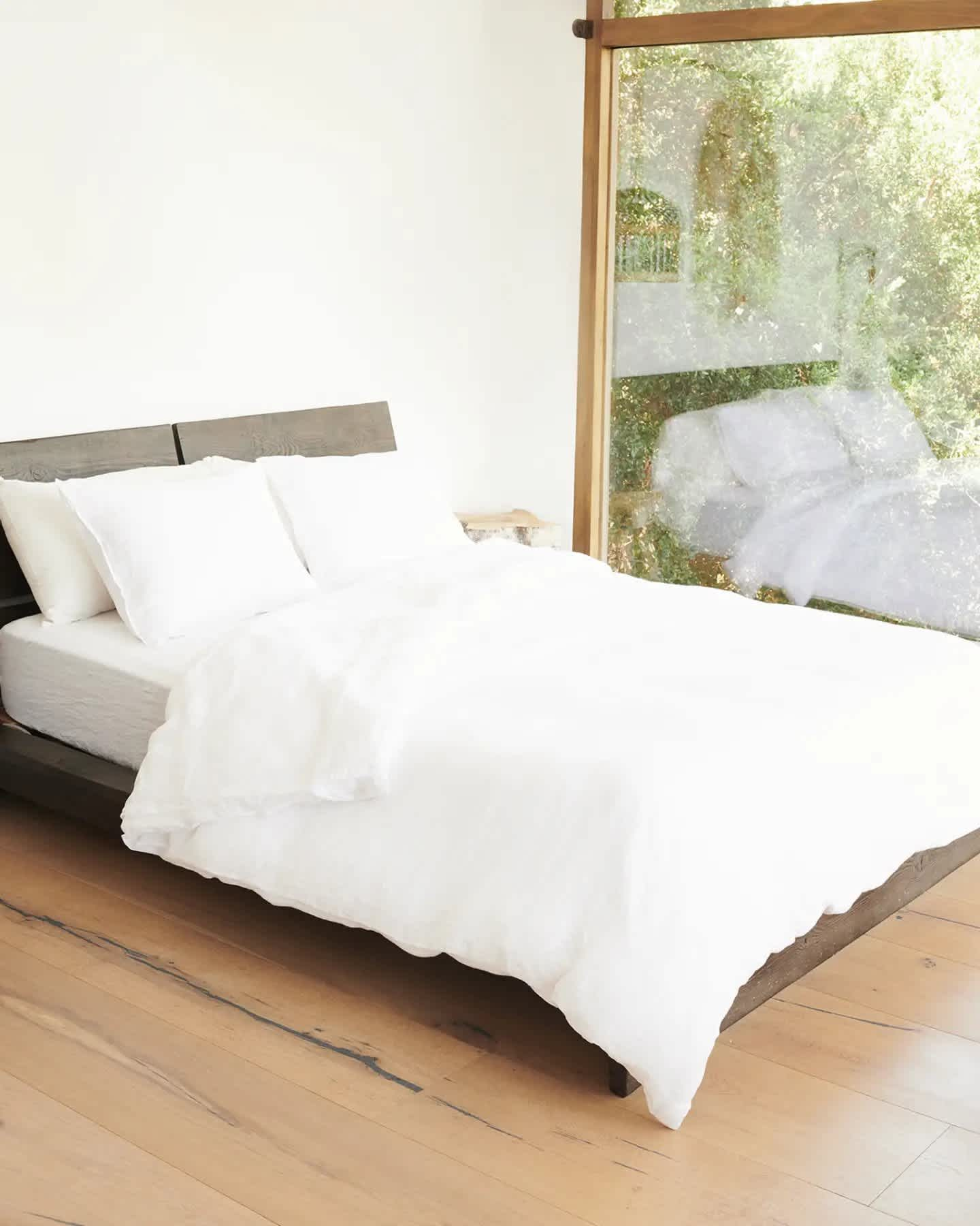 Linen duvet cover set on bed