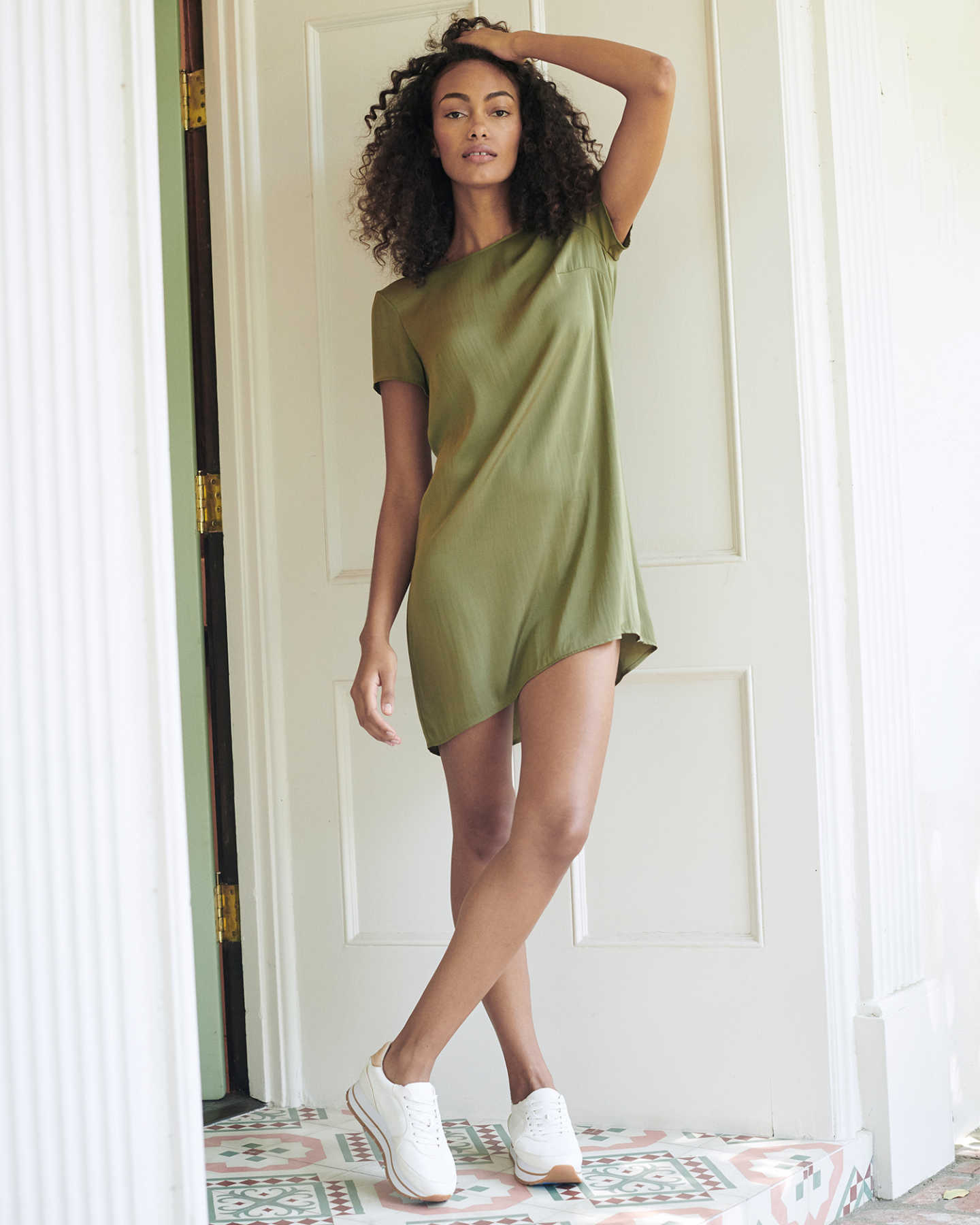 Washable Stretch Silk Tee Dress - Military Olive