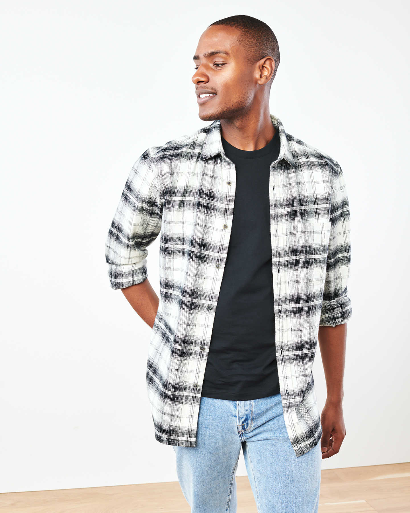 Heavy Plaid Flannel Overshirt - Black/White - 7