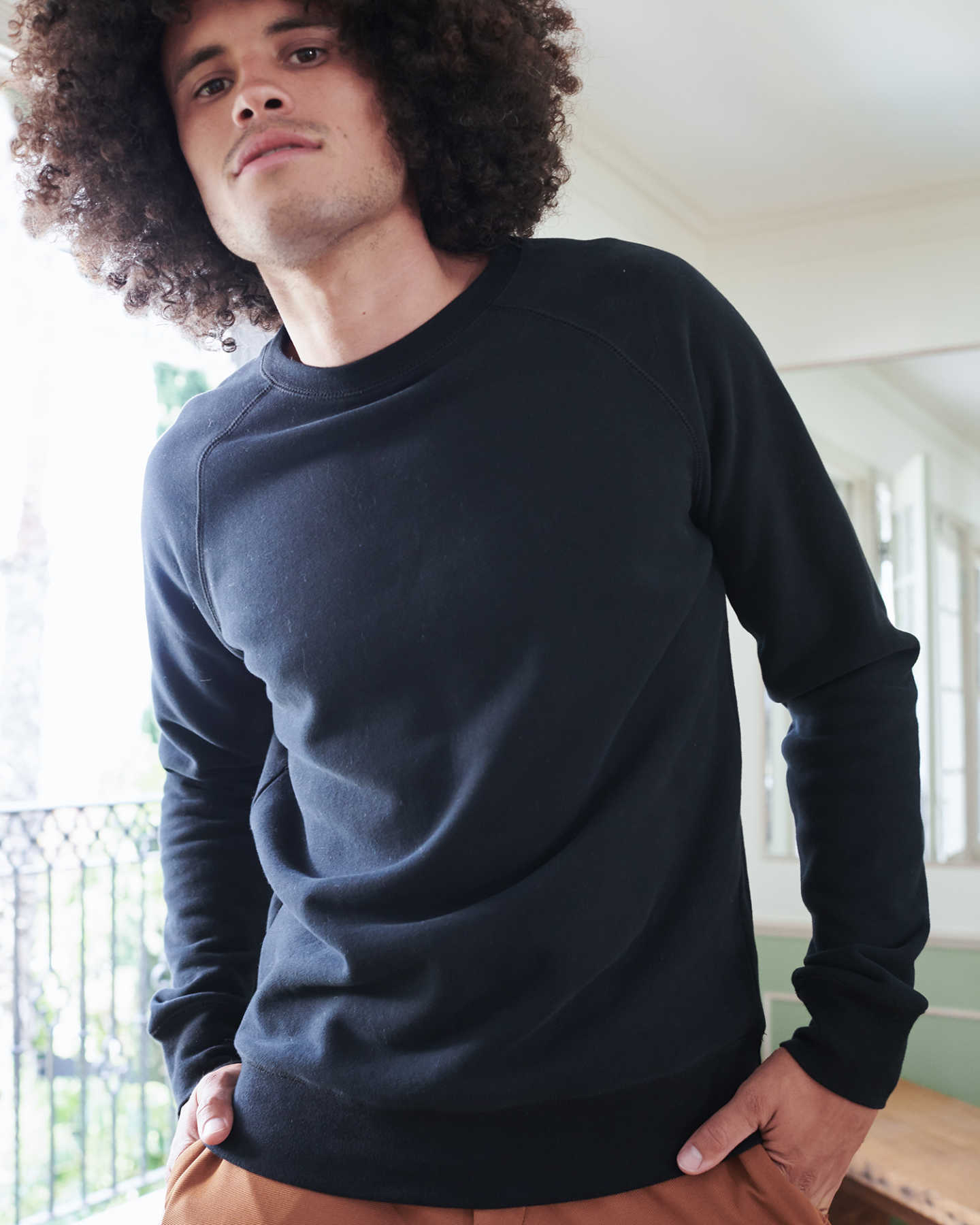 Organic Heavyweight Fleece Crew - Black - 4