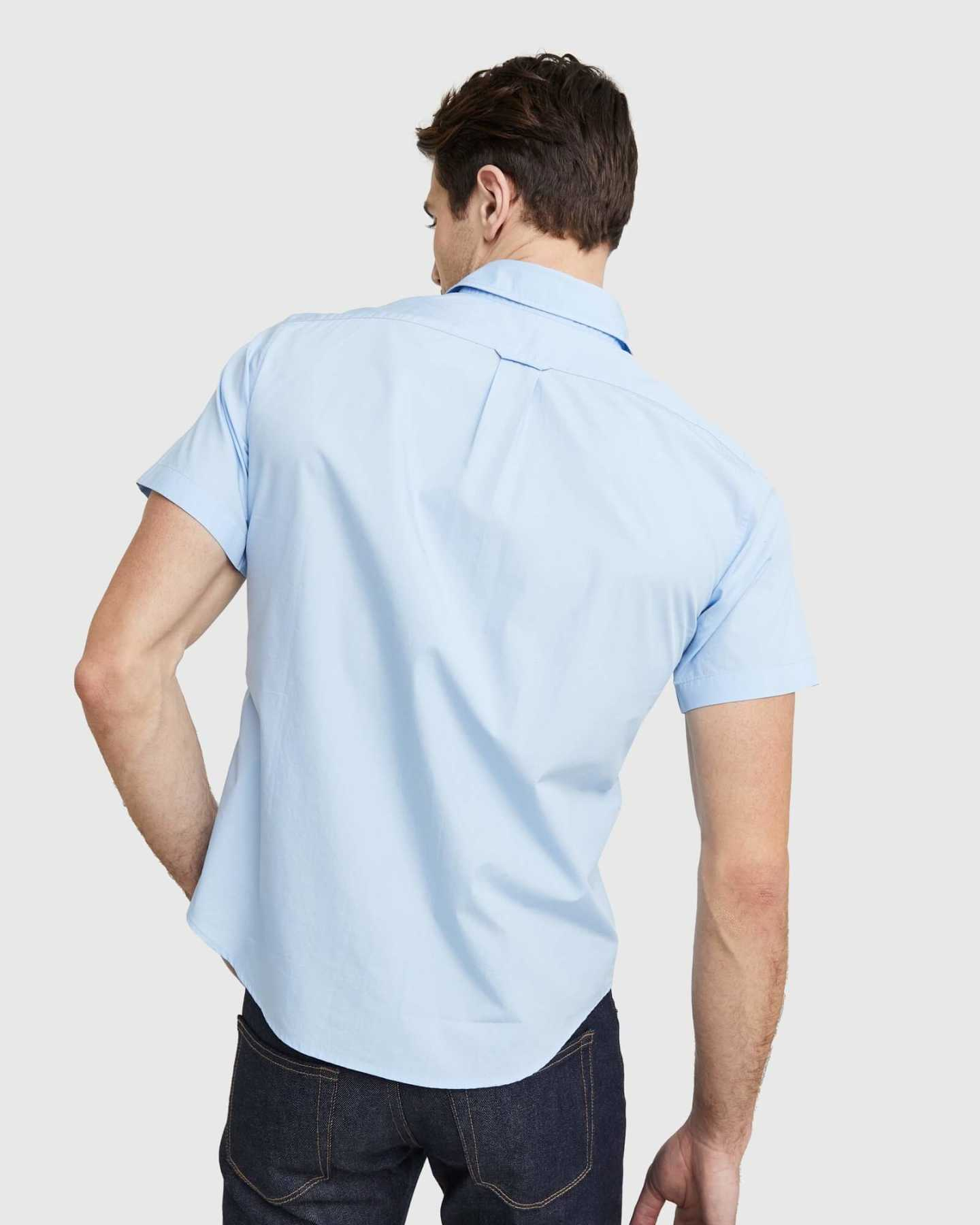 Organic Short Sleeve Stretch Poplin Shirt - Light Blue - 9