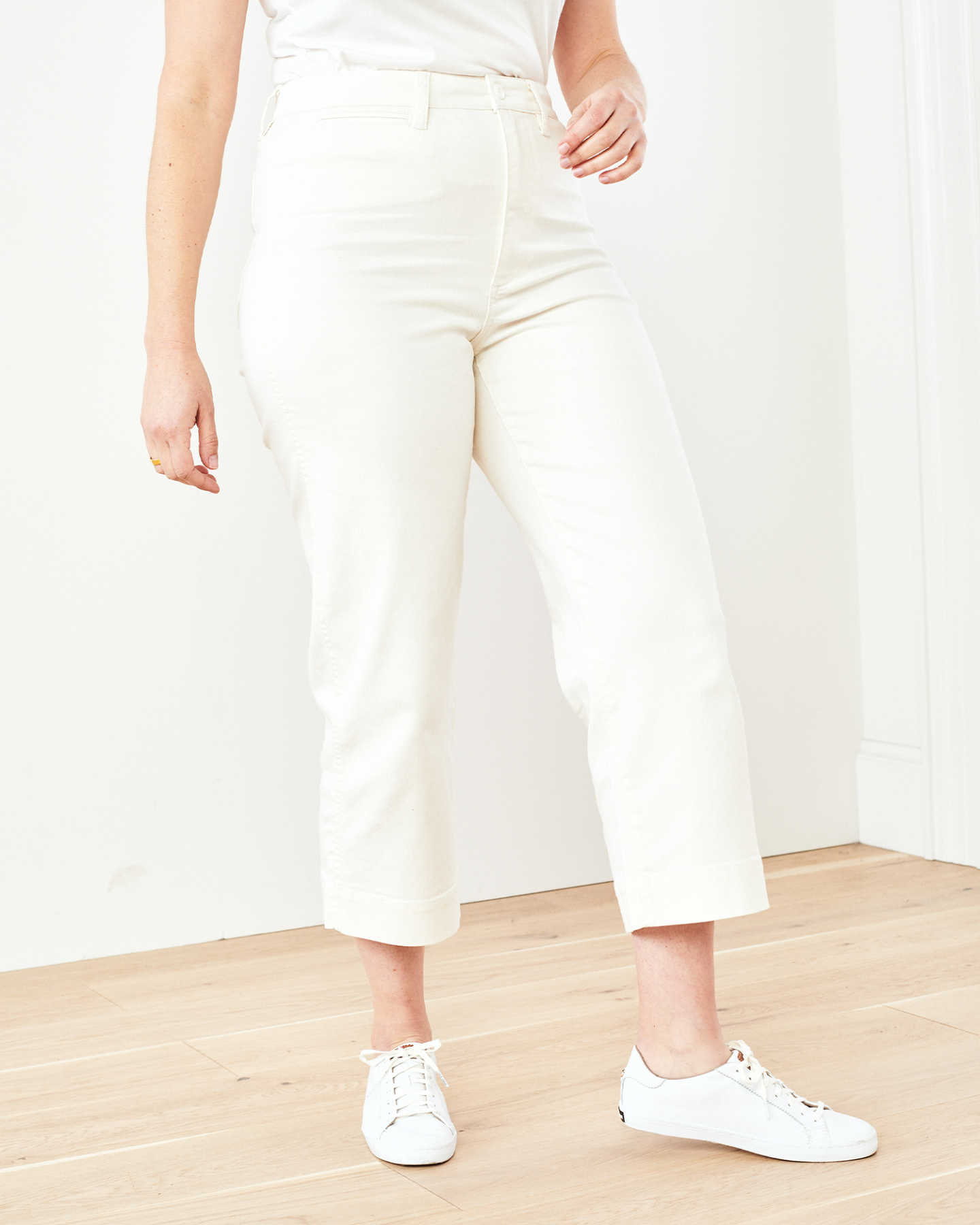 Pair With - Stretch Cotton Twill Wide-Leg Crop Pant - Ivory