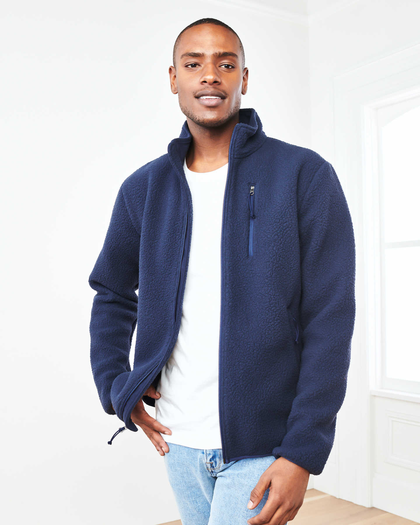 Recycled Sherpa Fleece Jacket - Navy