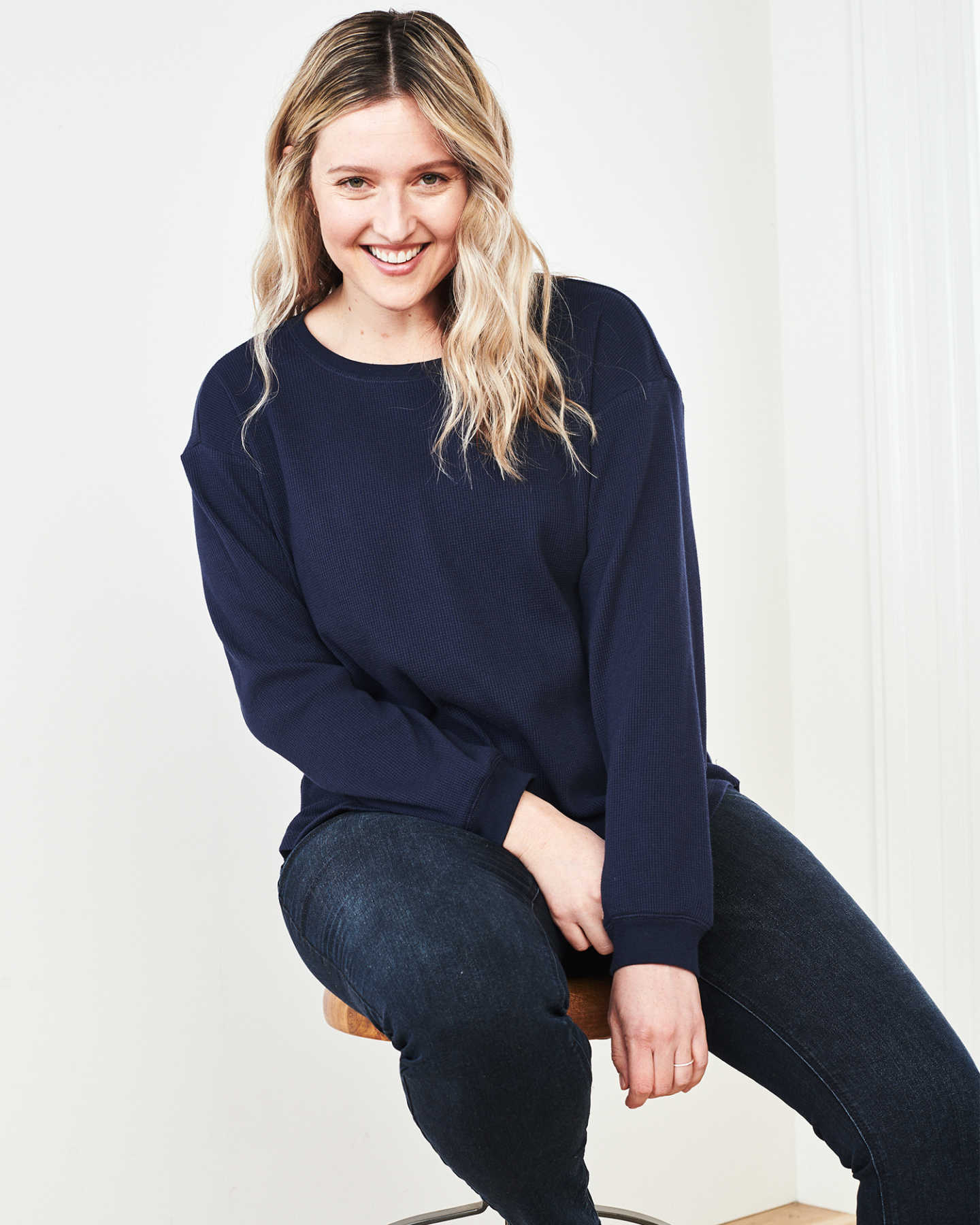 Luxe Organic Waffle Thermal Crew - Navy - 5