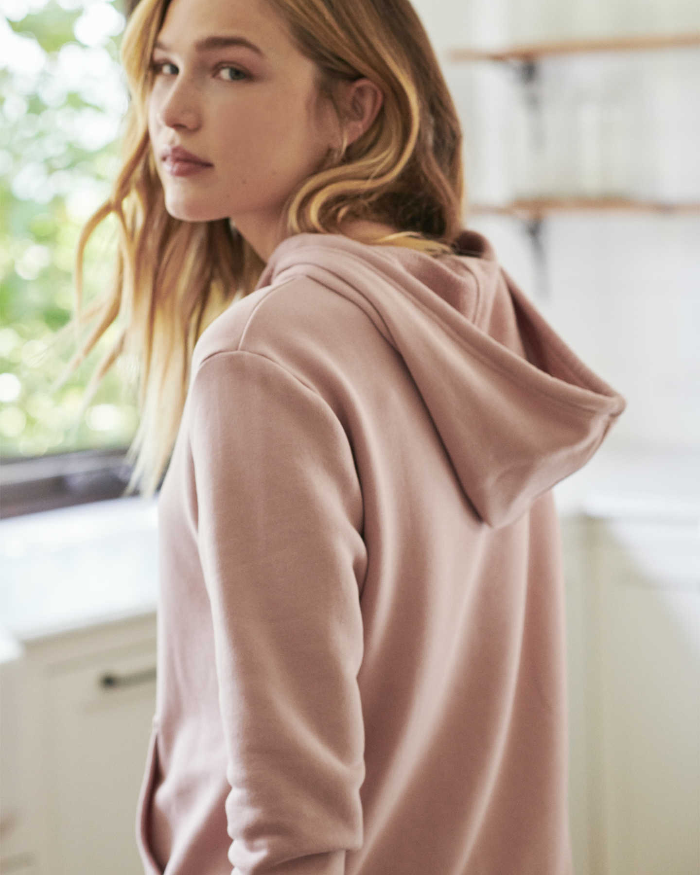 Organic French Terry Hoodie - Dusty Pink - 6