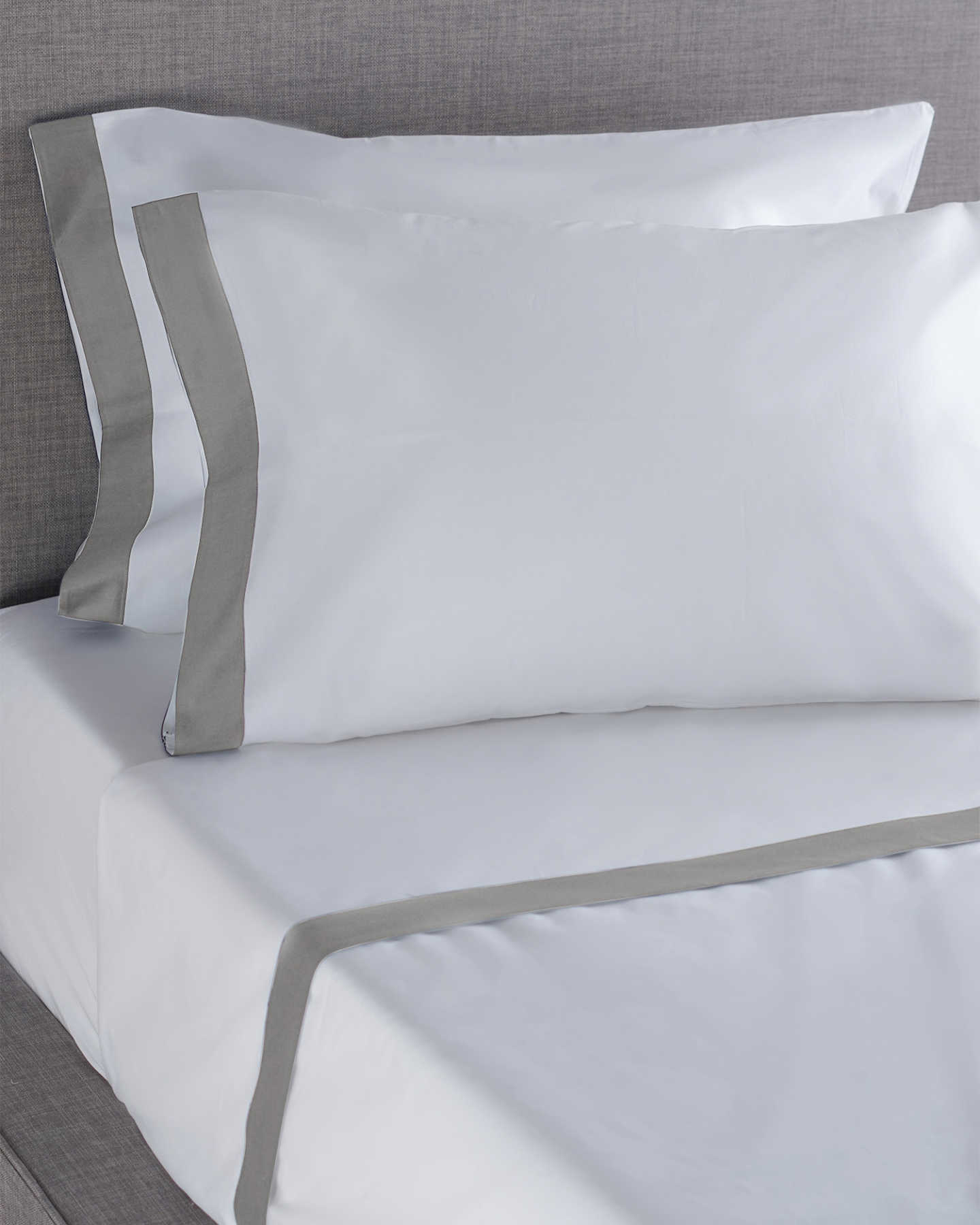 Luxe Italian Cotton Border Sheet Set - Grey
