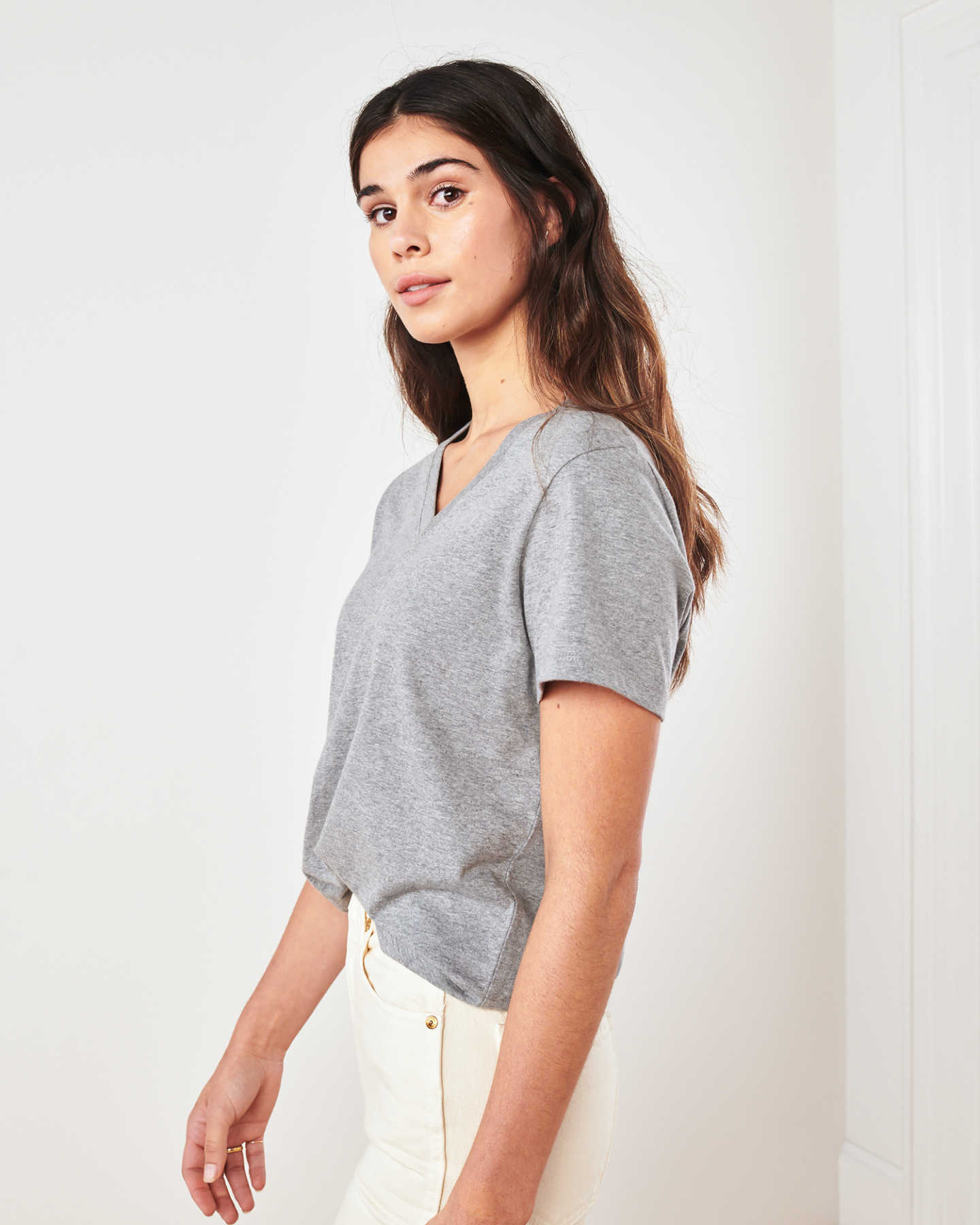 Vintage Wash V Neck Tee - Heather Grey - 2